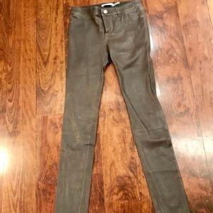 New Grey leather stretch skinny jeans